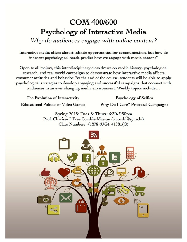 Psychology of Interactive Media Spring 2018