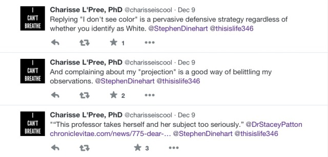 """Replying, ""I don't see color"" is a pervasive defensive strategy regardless of whether you identify as White."" ""And complaining about my ""projection"" is a good way of belittling my observations."""